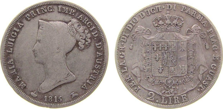 Ag Maria Luigia, Herzogtum, selten Parma 2 Lire 1815
