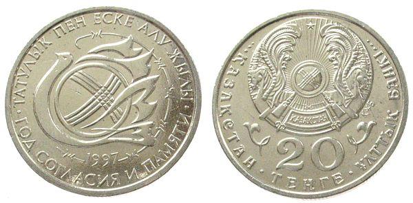 Kn Friedenstaube, fleckig Kasachstan 20 Tenge 1997