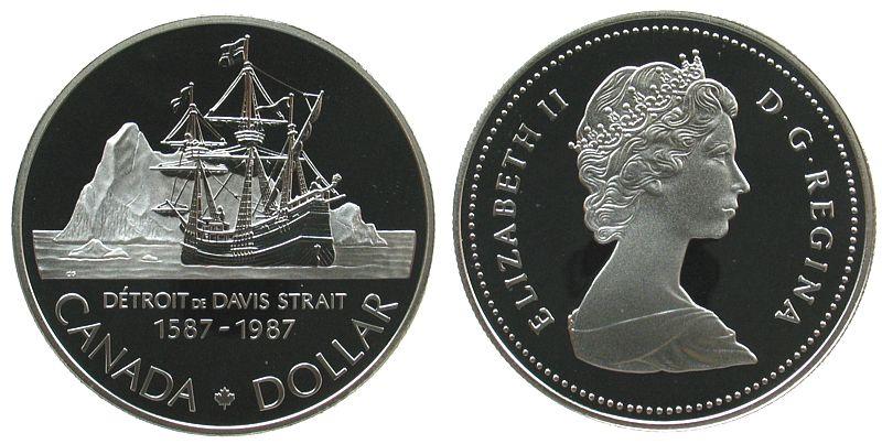 Ag Davis Strait, Segelschiff Kanada 1 Dollar 1987