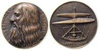 Luftfahrt Medaille Bronze Da Vinci Leonardo (1452-1519) - Universalgelehrter, Büste nach links / Lu