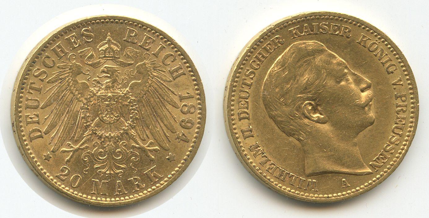 M#3368 Deutsches Reich Preussen 20 Mark 1894 A Gold