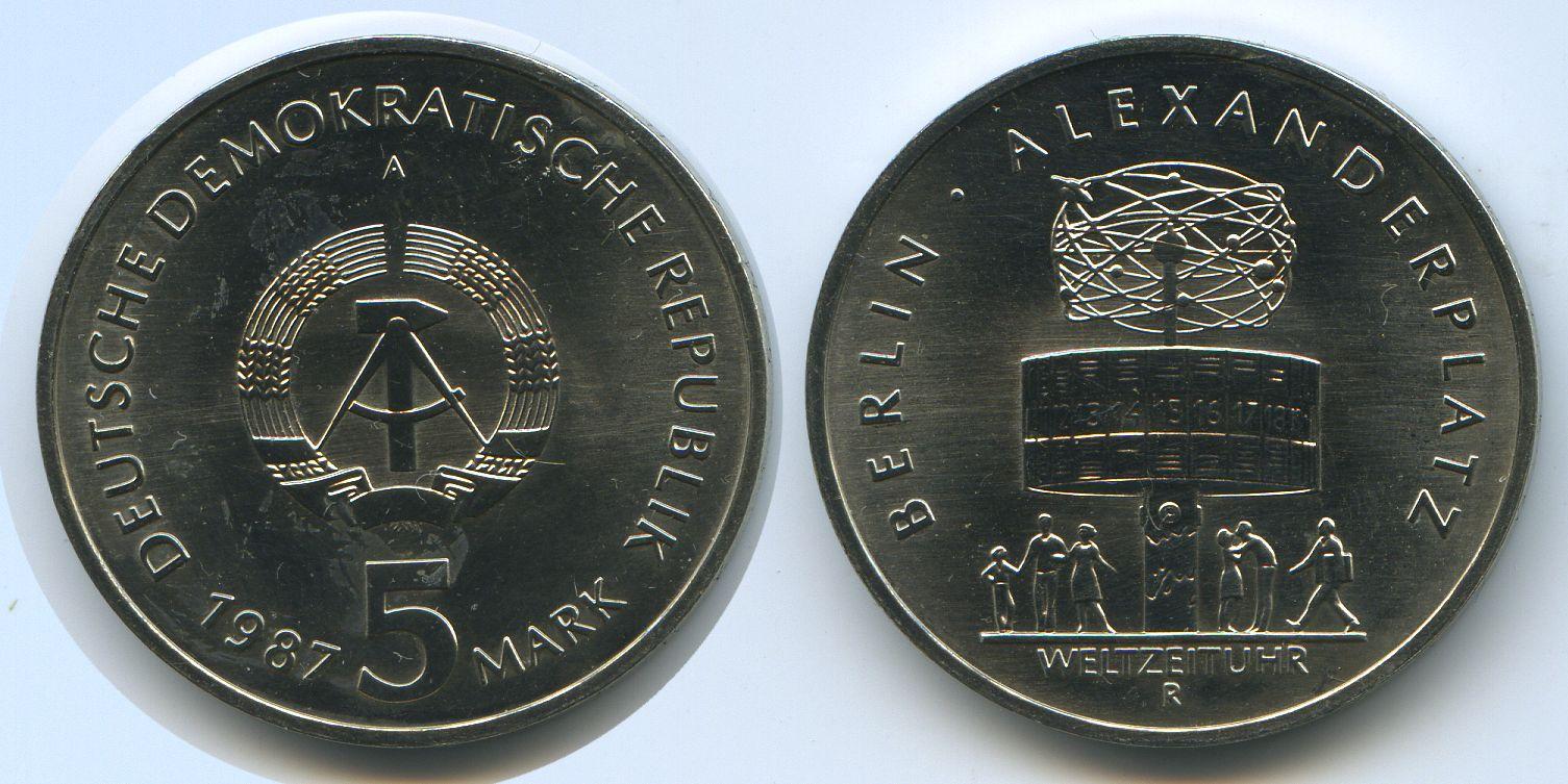 M#3077 Alexanderplatz Berlin Weltzeituhr Ddr 5 Mark 1987