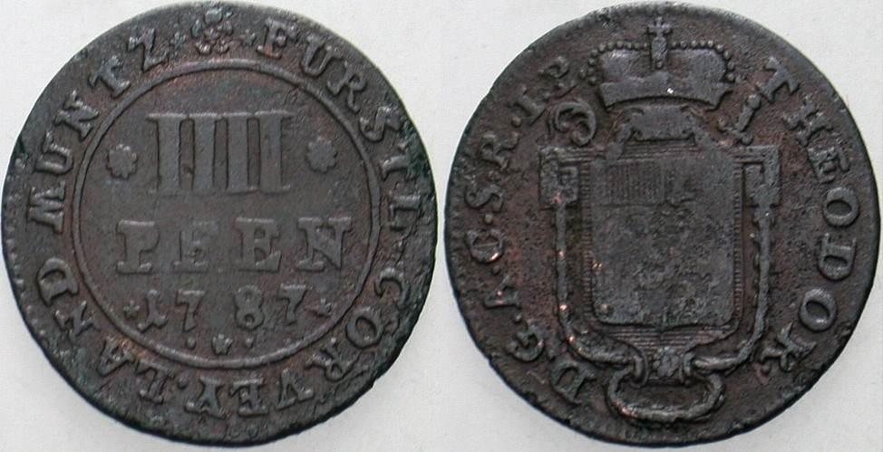 Theodor von Brabeck 1776-1794 Corvey 4 Pfennig 1787 Braunschweig