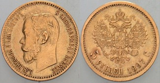 5 Rubel 1897 Russland Nikolaus II. 1894-19...