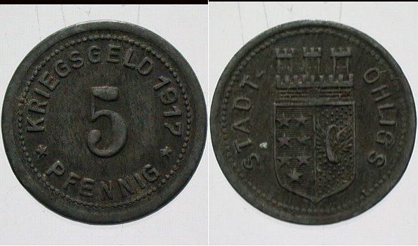Ohligs 5 Pfennig 1917 Wappen Rs