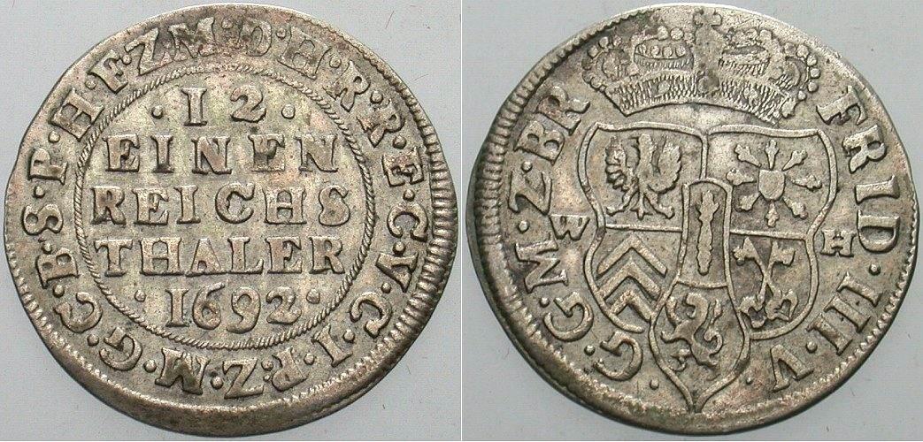 Friedrich Iii 1688-1701 Brandenburg-preußen 1/12 Taler 1692 Wh, Emmer