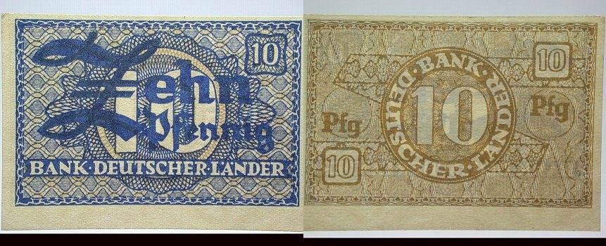 10 Pfennig Bank Deutscher Länder ohne Datum Banknoten nach Rosenberg ...