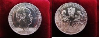 Doppeltaler 1854 Sachsen 2 Sterbetaler - a...