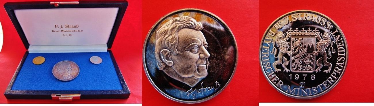 Franz Josef Strauss Bayerischer Mininsterpräsident Gold- Silber Plati