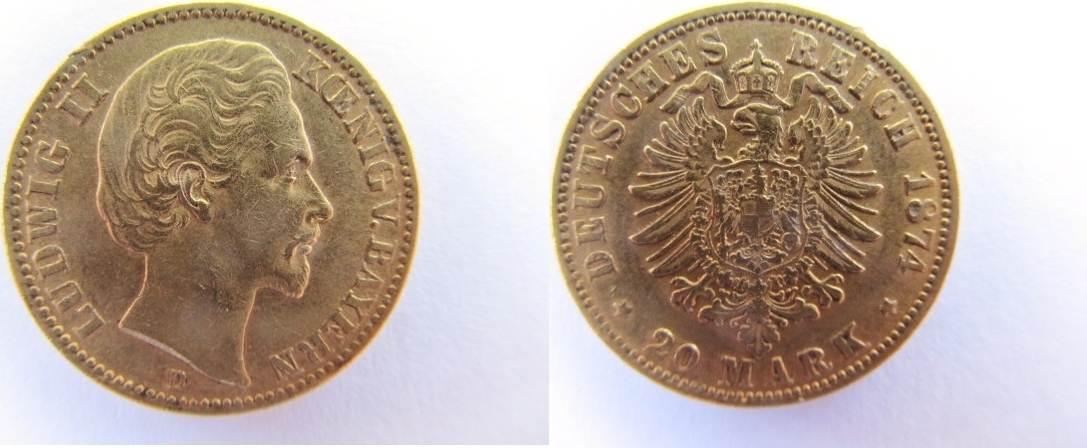 Ludwig Ii König von Bayern 20 Goldmark Gold Jäger 197 Rdf 20 Mark 187