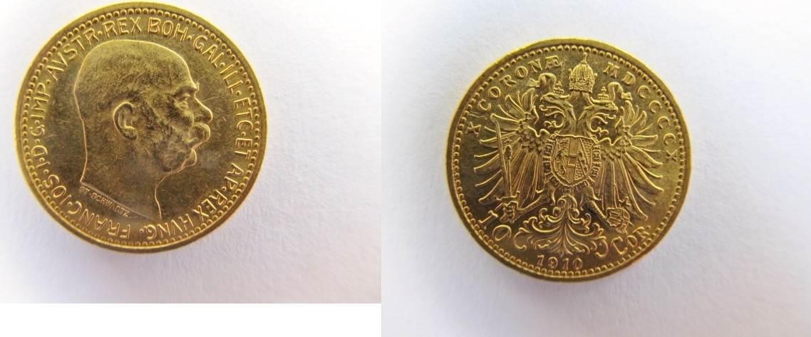 10 Corona Franz Josef I Gold mit St Schwartz Österreich 10 Kronen 191