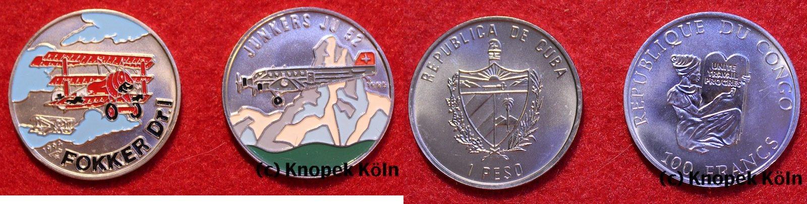 Lot 2 Farbmünzen Flugzeuge Junkers Ju 52/fokker Dr I Dr1 Kuba Lot 2x