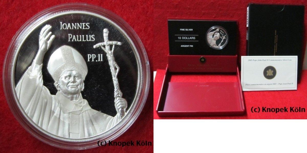 10 $, Dollar, Canada, Tod Papst Johannes Paul Ii , Silber, selten Kan