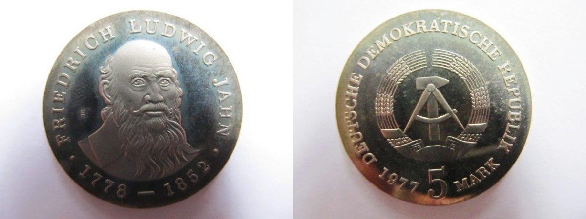 Friedrich Ludwig Jahn 1778-1852 Turnvater Ddr 5 Mark 1977