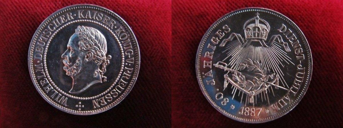 Preußen, Kaiser Wilhelm I , zum 80 jährigen Dienstjubiläum, Silber, s