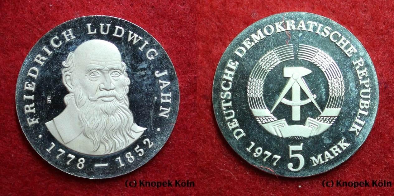 Friedrich Ludwig Jahn 1778-1852 Turnvater Ddr 5 Mark Gedenkmünze 1977