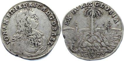 Dicker 1/3 Palmbaumtaler 1673 Braunschweig-Calenberg-Hannover Johann Friedrich 1665-1679. Schrötlingsfehler am Rand, fast sehr schön