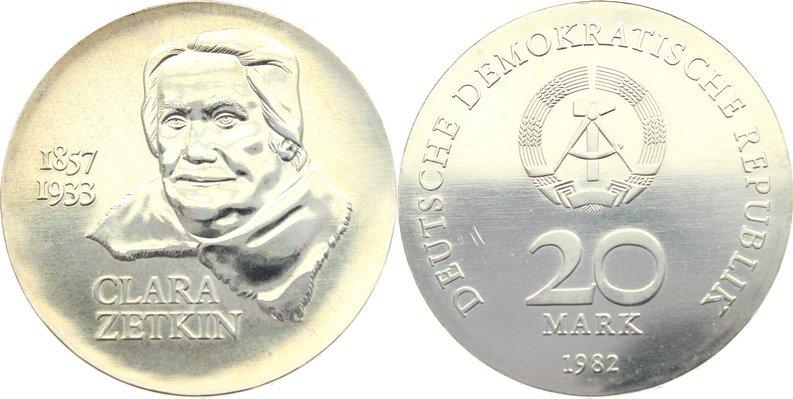 20 Mark 1982 DDR min. Kratzer, vorzüglich - Stempelglanz