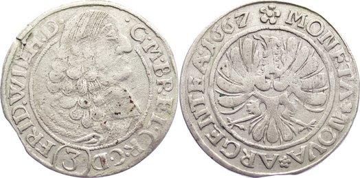 Friedrich Wilhelm 1640-1688 Brandenburg-preußen 3 Kreuzer 1667