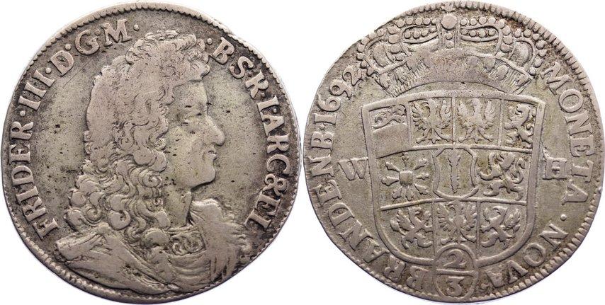 Friedrich Iii 1688-1701 Brandenburg-preußen 2/3 Taler 1692