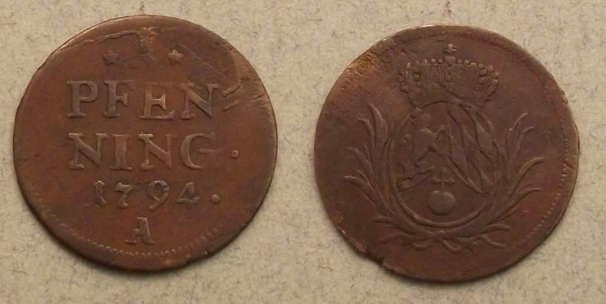 Karl Theodor Bayern 1 pfennig 1794