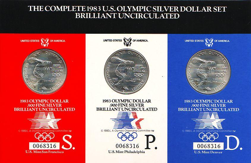 3 x 1 Dollar im Set 1983 USA Silbermünzen-Set - Olympische Spiele 1984 in Los Angeles - Discuswerfer ST