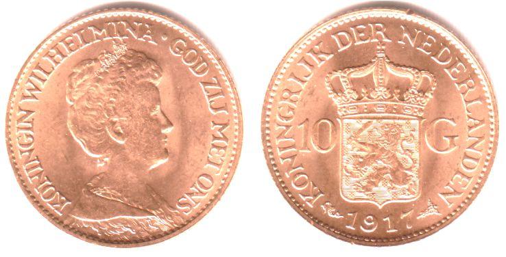 10 Gulden 1917 Niederlande Königin Wilhelmina st/Rf