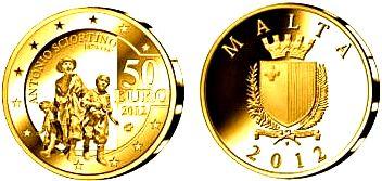 50 Euro 2012 Malta Goldmünze - Antonio Sciortino ( Europastern-Serie) Proof mit Box
