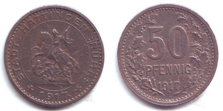 Mã Bel Hattingen 50 pfennig 1917 hattingen notgeld der stadt hattingen 50 pfennig reiter vz st m 252 nzen