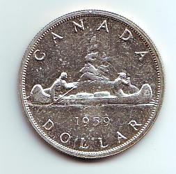 1 Dollar 1959 Kanada Indianer im Kanu vz/st