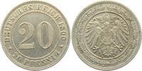20 Pfennig 1890 A Kaiserreich 20 Pfennig - großer Adler vz  39,00 EUR