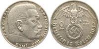 2 Reichsmark 1937 D Drittes Reich Paul von Hindenburg - mit Hakenkreuz vz  7,00 EUR  zzgl. 2,95 EUR Versand