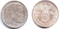 2 Reichsmark 1938 A Drittes Reich Paul von Hindenburg - mit Hakenkreuz vz  5,00 EUR  zzgl. 2,95 EUR Versand