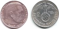 2 Reichsmark 1936 D Drittes Reich Paul von Hindenburg - mit Hakenkreuz ss  8,00 EUR  zzgl. 2,95 EUR Versand