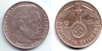 2 Reichsmark 1936 D Drittes Reich Paul von Hindenburg - mit Hakenkreuz ... 11,00 EUR  zzgl. 4,95 EUR Versand
