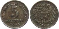 5 Pfennig 1917 G Ersatzmünzen des 1. Weltkrieges 5 Pfennig ss+  4,00 EUR  zzgl. 2,95 EUR Versand
