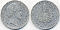 5 Mark 1875 D Bayern Ludwig II. 1864-1886 schön/sehr schön  50,00 EUR