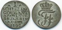 1 Schilling 1792 Mecklenburg-Schwerin Friedrich Franz I. 1785-1837 knap... 10,00 EUR