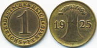 1 Reichspfennig 1925 J Weimarer Republik Kupfer - Messingfarben sehr sc... 3,00 EUR  zzgl. 1,20 EUR Versand