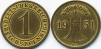 1 Reichspfennig 1931 G Weimarer Republik Kupfer - Messingfarben sehr sc... 5,00 EUR  zzgl. 1,20 EUR Versand