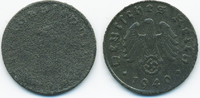 1 Reichspfennig 1940 Drittes Reich Zink – zu kleiner Schrötling vorzügl... 15,00 EUR  zzgl. 1,20 EUR Versand