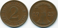 2 Reichspfennig 1925 D Weimarer Republik Kupfer – Stempelrisse gutes se... 4,00 EUR  zzgl. 1,20 EUR Versand