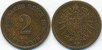 2 Pfennig 1876 F Kaiserreich kleiner Adler - Kupfer fast sehr schön  3,00 EUR  zzgl. 1,20 EUR Versand