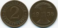 2 Reichspfennig 1936 F Weimarer Republik großer Adler - Kupfer fast vor... 2,80 EUR  zzgl. 1,20 EUR Versand