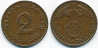 2 Reichspfennig 1937 D Drittes Reich Kupfer sehr schön+ - Kratzer  1,00 EUR  zzgl. 1,20 EUR Versand