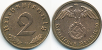 2 Reichspfennig 1939 B Drittes Reich Kupfer fast vorzüglich - gereinigt  1,40 EUR  +  2,00 EUR shipping