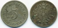 5 Pfennig 1876 A Kaiserreich kleiner Adler - Kupfer/Nickel schön/sehr s... 1,00 EUR  zzgl. 1,20 EUR Versand