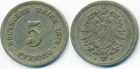 5 Pfennig 1876 J Kaiserreich kleiner Adler - Kupfer/Nickel fast sehr sc... 2,00 EUR  zzgl. 1,20 EUR Versand