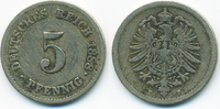 5 Pfennig 1888 F Kaiserreich kleiner Adler - Kupfer/Nickel schön/sehr s... 4,00 EUR  zzgl. 1,20 EUR Versand