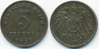 5 Pfennig 1917 A Ersatzmünze 1.WK Eisen sehr schön+ - minimal fleckig  1,00 EUR  zzgl. 1,20 EUR Versand